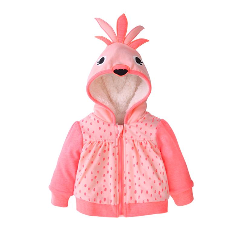 Lovely Bird Design Fleece Lining Hoodie for Baby Girl