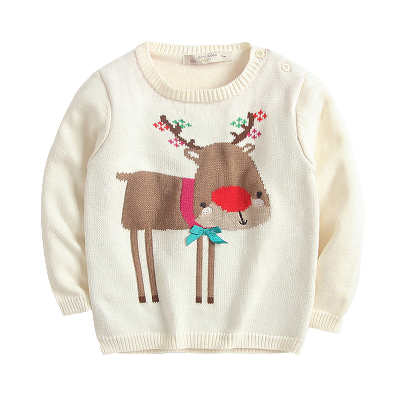 Pretty Deer Graphic Knitted Top for Baby and Toddler Girls