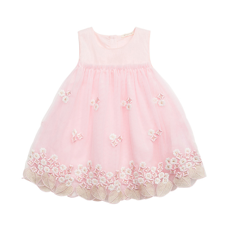 Charming Flowers Embroidered Sleeveless Dress for Baby and Toddler Girl