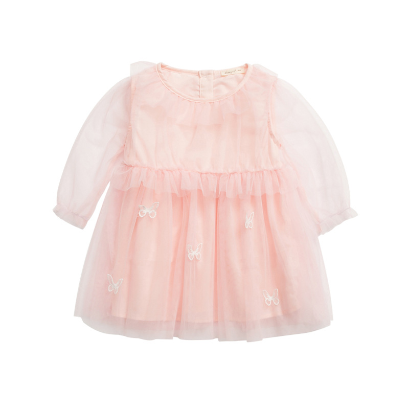 Toddler Girl's Solid Buttefly Embroidered Mesh Dress