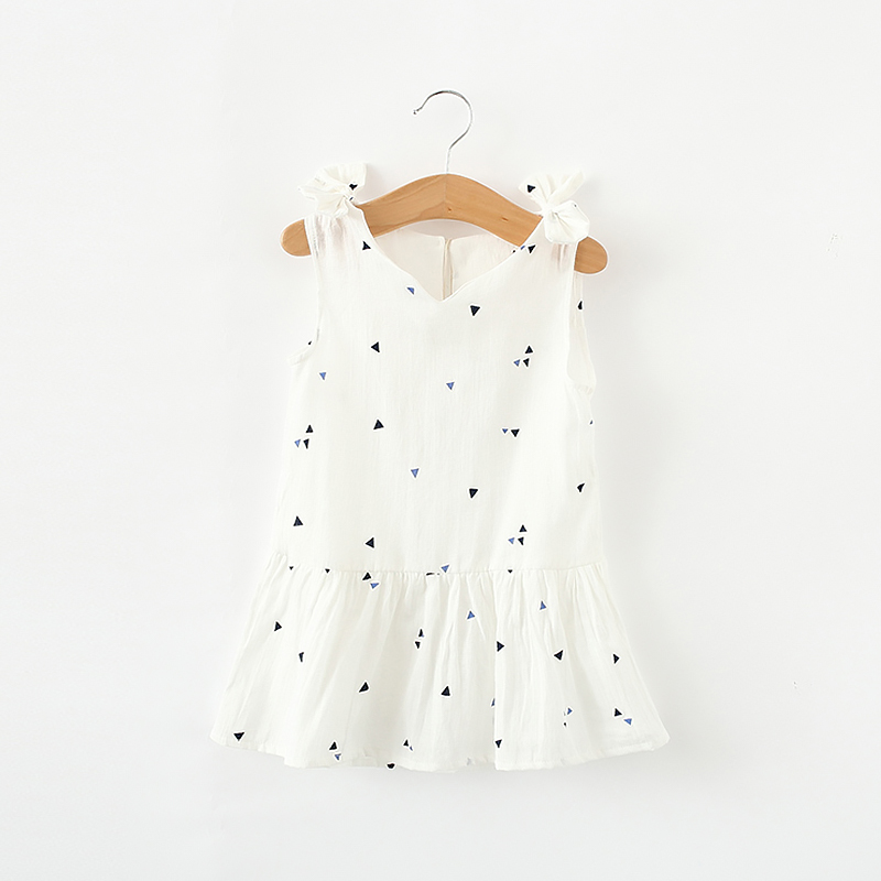 Happy Patterned Ruffled Sleeveless Dress for Baby and Toddler Girl