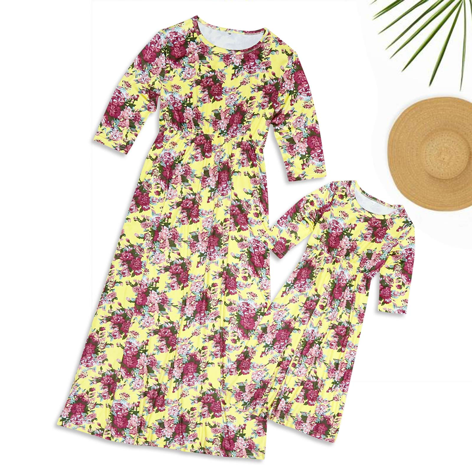 Mommy and Me Floral Printed Short-sleeve Maxi Dress in Light Yellow