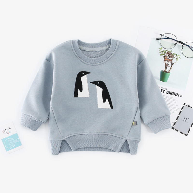 Cute Embroidered Penguin Asymmetric Pullover in Blue for Baby and Toddler Girl