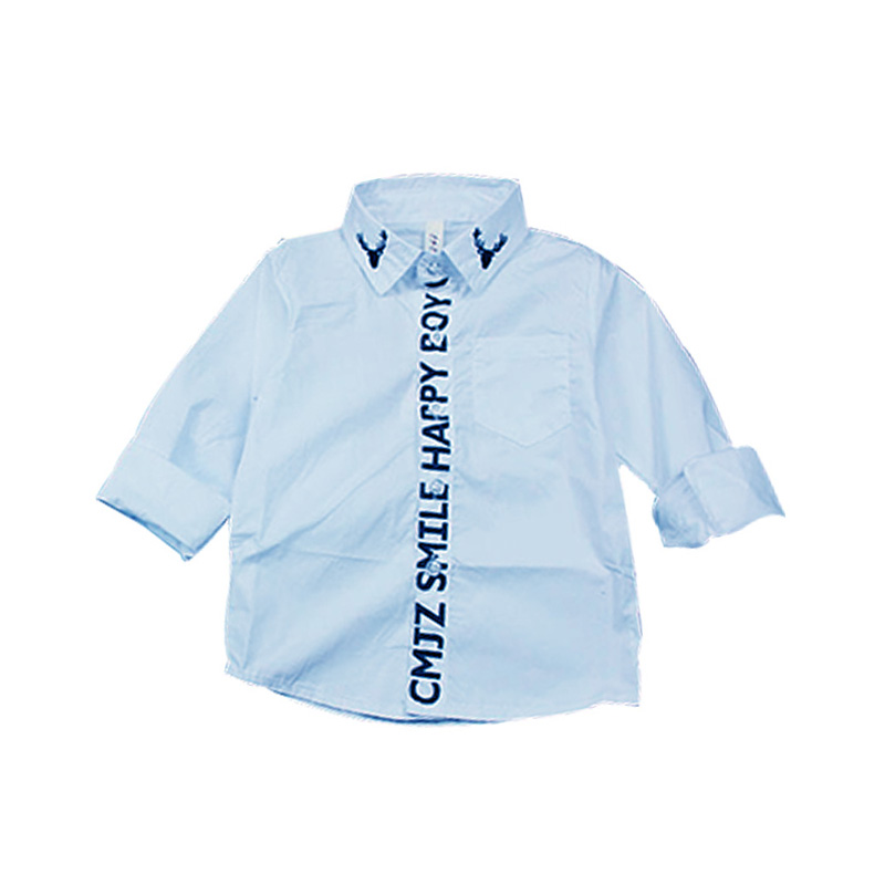 Cool Deer Embroidery Long-sleeve  Shirt for Boy