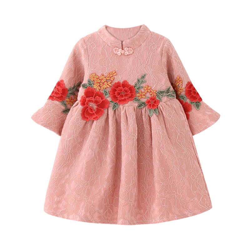 Elegant Appliqued Floral Long-sleeve Lace Dress for Toddler Girl/Girl