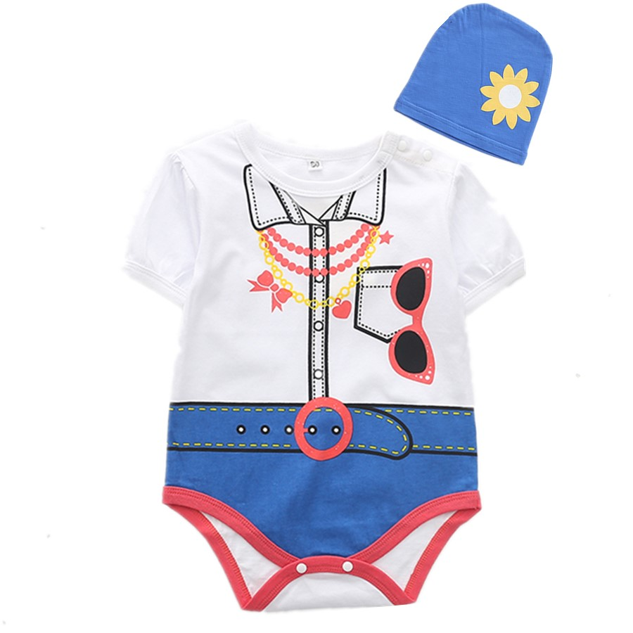 Toddler Girl's Stylish Glasses Print Bodysuit and Floral Hat Set
