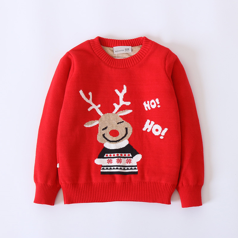 Cute Reindeer Fleece Lined Long-sleeve Knit Pullover for Baby Girl/Girl
