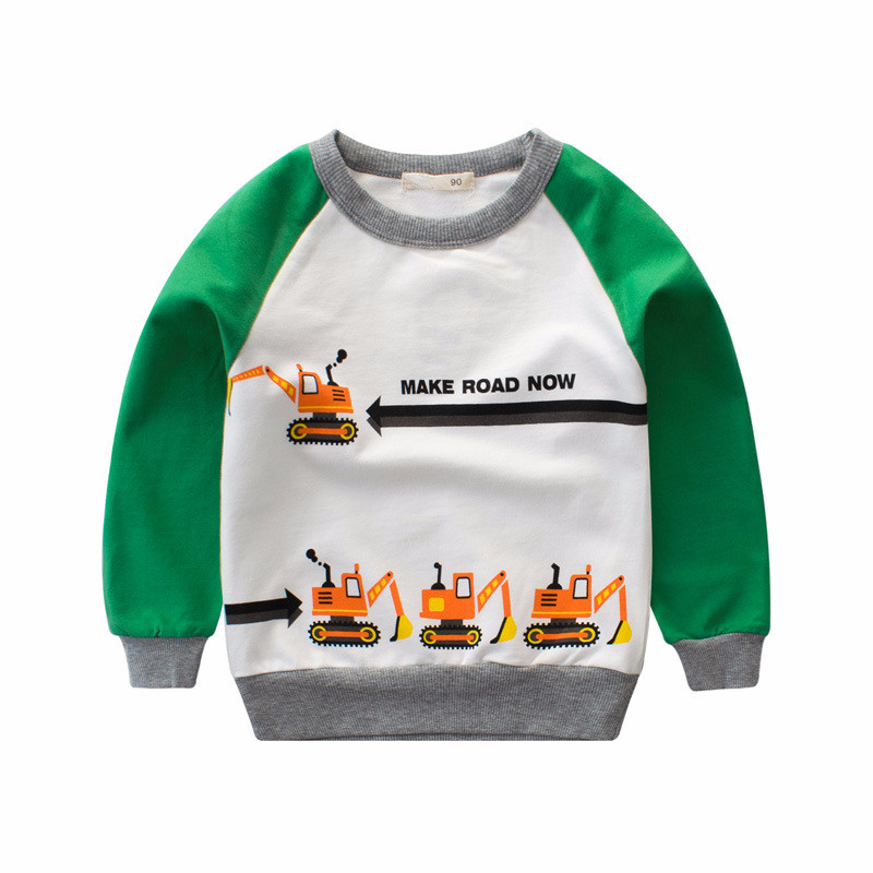 Color Block Boy Pullover with Lovely Truck Print