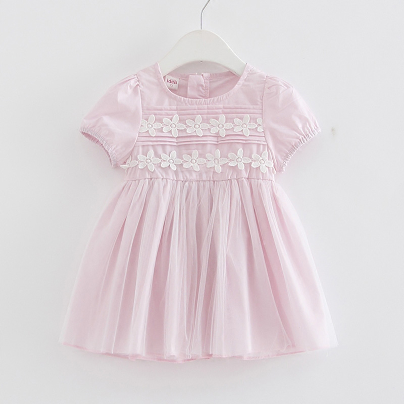 Lovely Pink Short-sleeve Mesh Dress for Baby and Toddler Girl