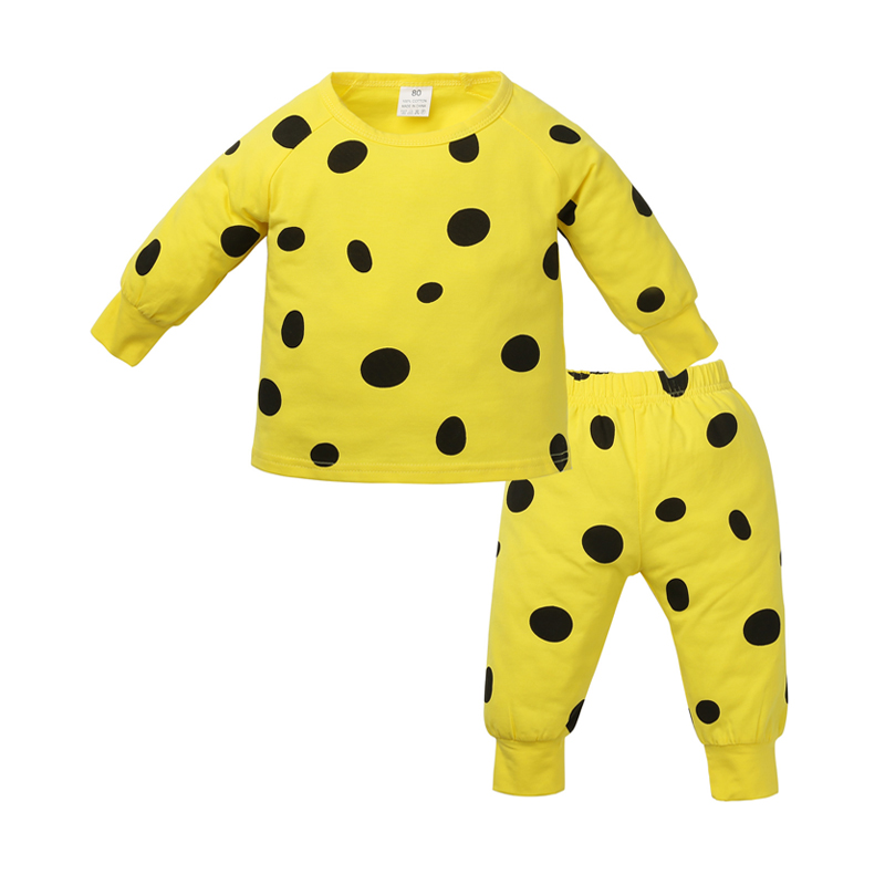 2-piece Allover Dotted Long-sleeve Top and Pants for Baby