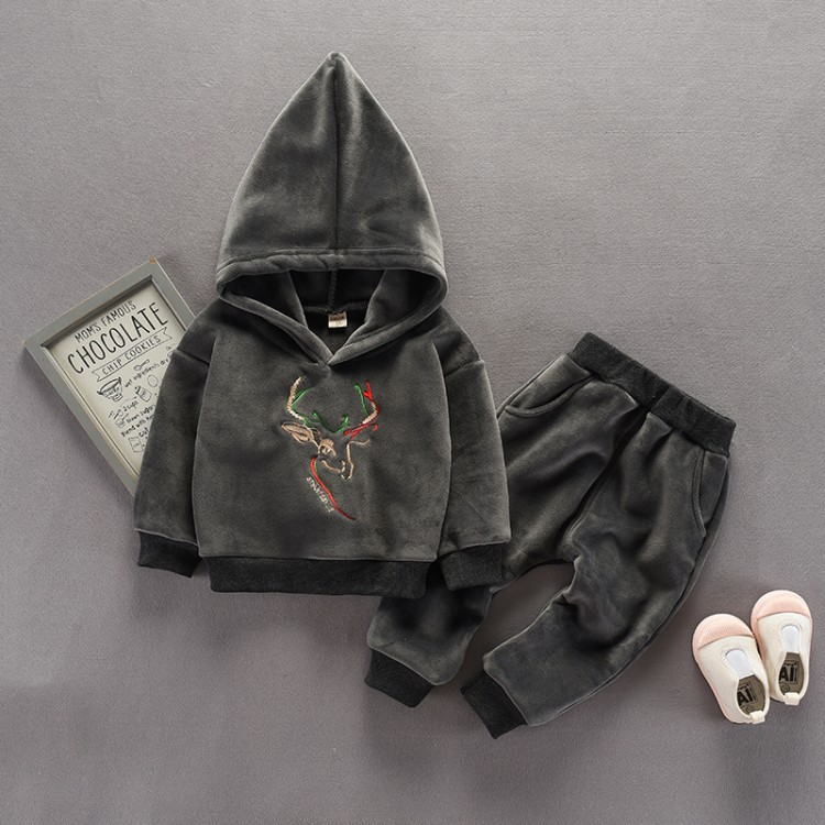 2-piece Reindeer Embroidery Fleece Hooded Top and Pants for Baby