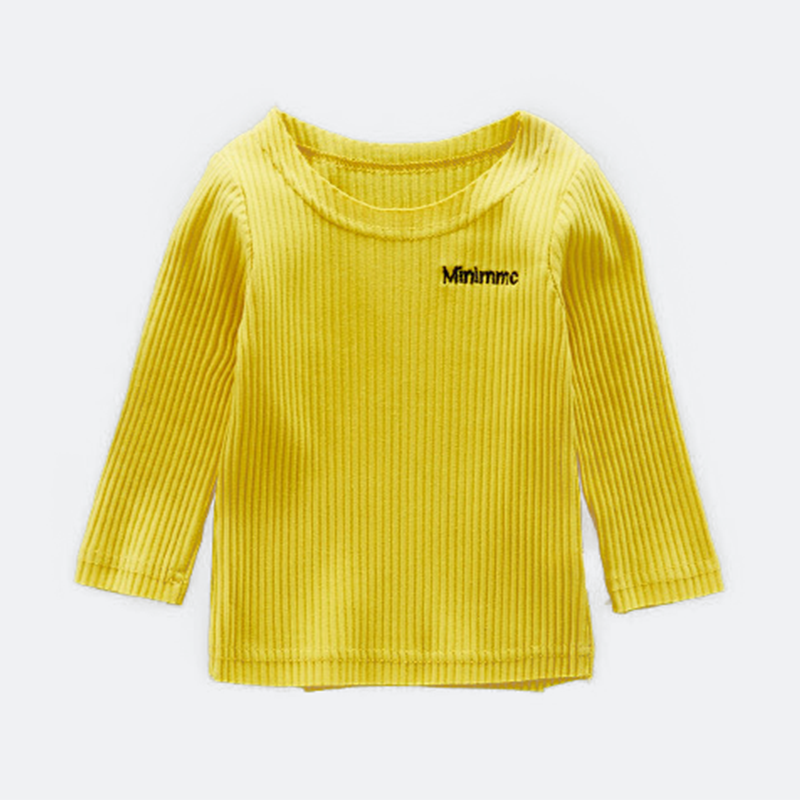 Comfy Letter Applique Ribbed Knit Long-sleeve Pullover for Baby