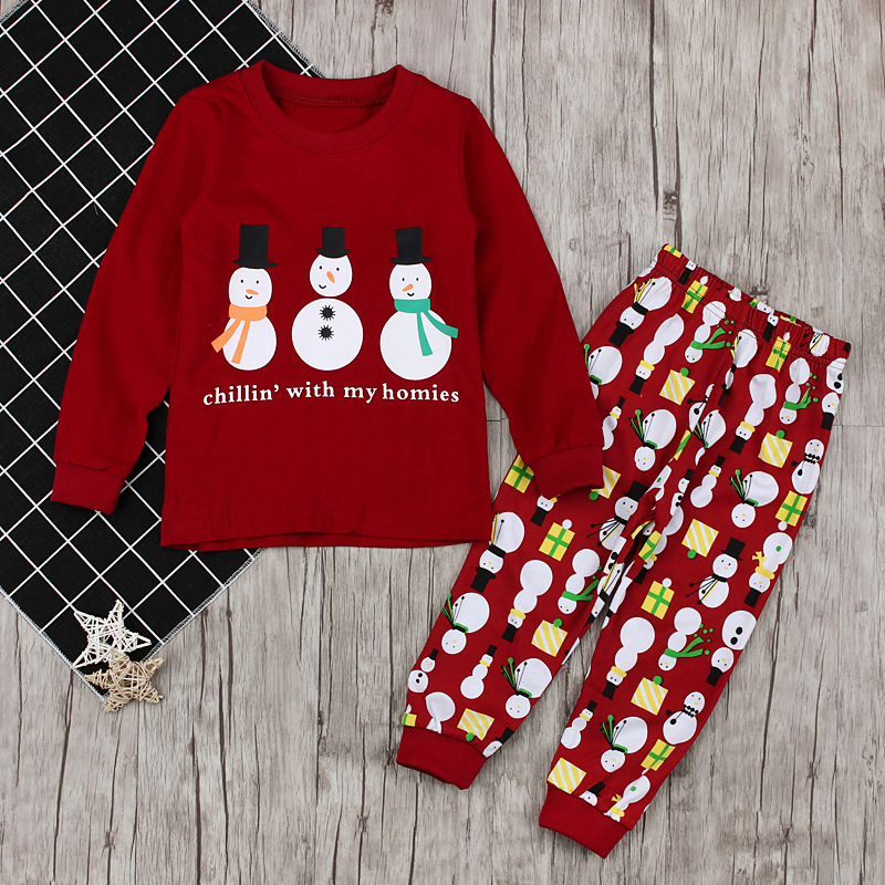 2-piece Cute Snowman Print Pullover and Pants for Baby Girl/Girl