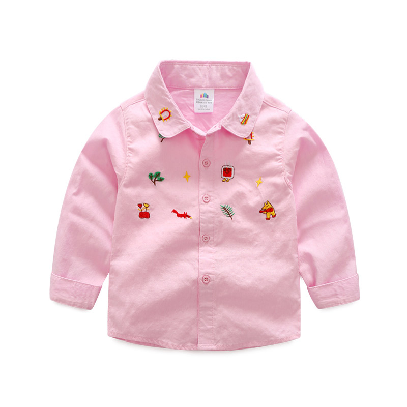Cute Animal/Floral Embroidery Long-sleeve Shirt for Toddler and Kid