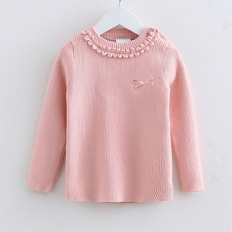 Sweet Solid Ribbed Knitted Long-sleeve Top for Girls