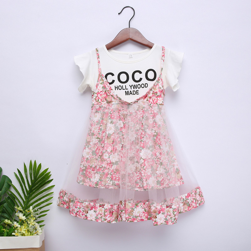 Pretty Faux-two Floral Mesh Short-sleeve Dress for Toddler Girl