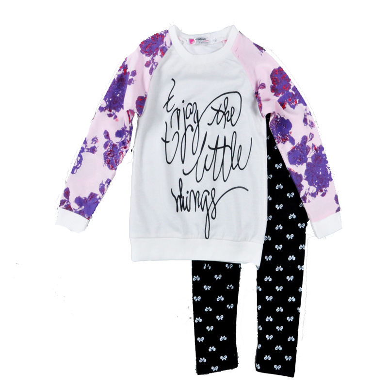 2-piece Floral and Letter Print Long-sleeve Shirt and Bow Print Pants for Toddler Girl/Girl