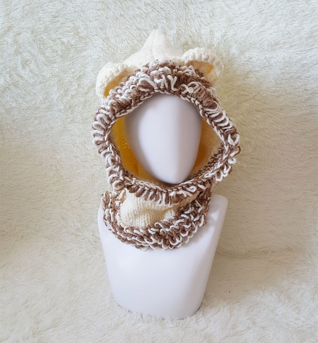 Baby Adorable Little Lion Crochet Hat in White