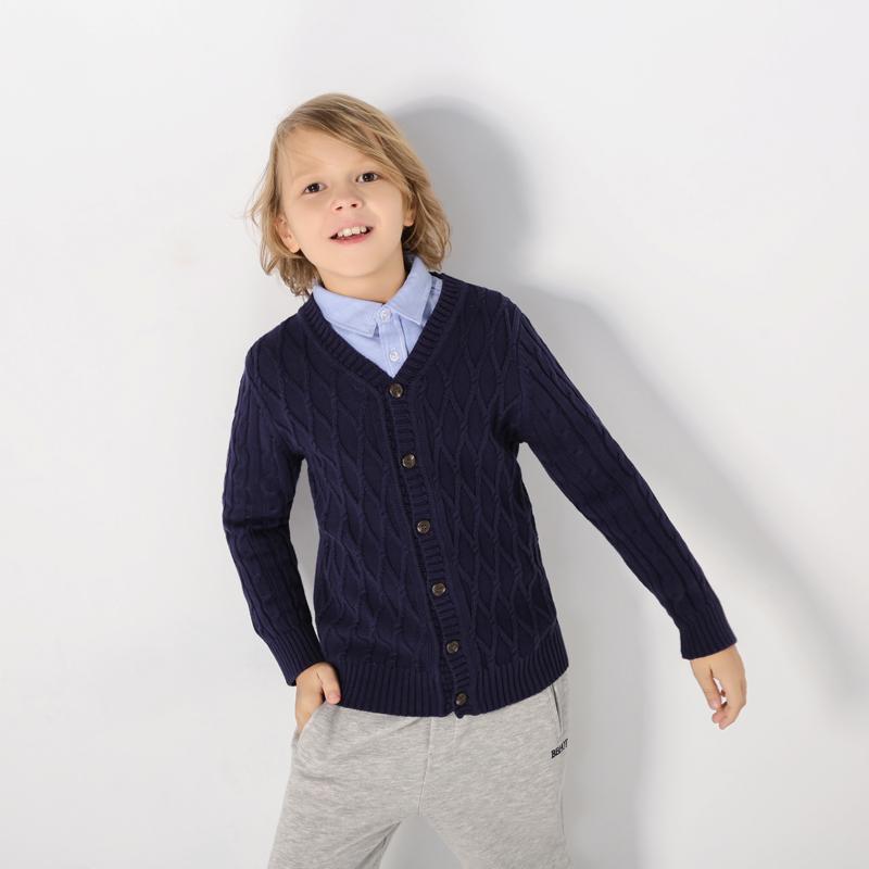 Handsome Knit Long-sleeve Navy Coat for Toddler Boy/Boy