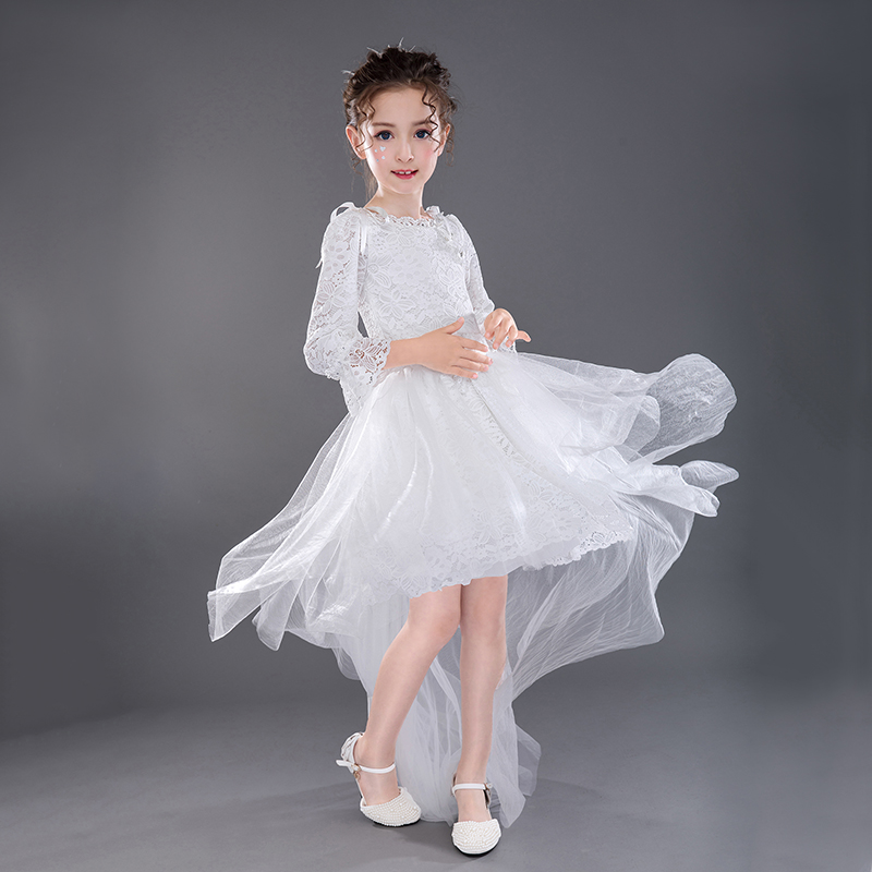 Image of Elegant A-Line Hollow Out Lace Party Dress with Detachable Train for Baby Girl/Girl