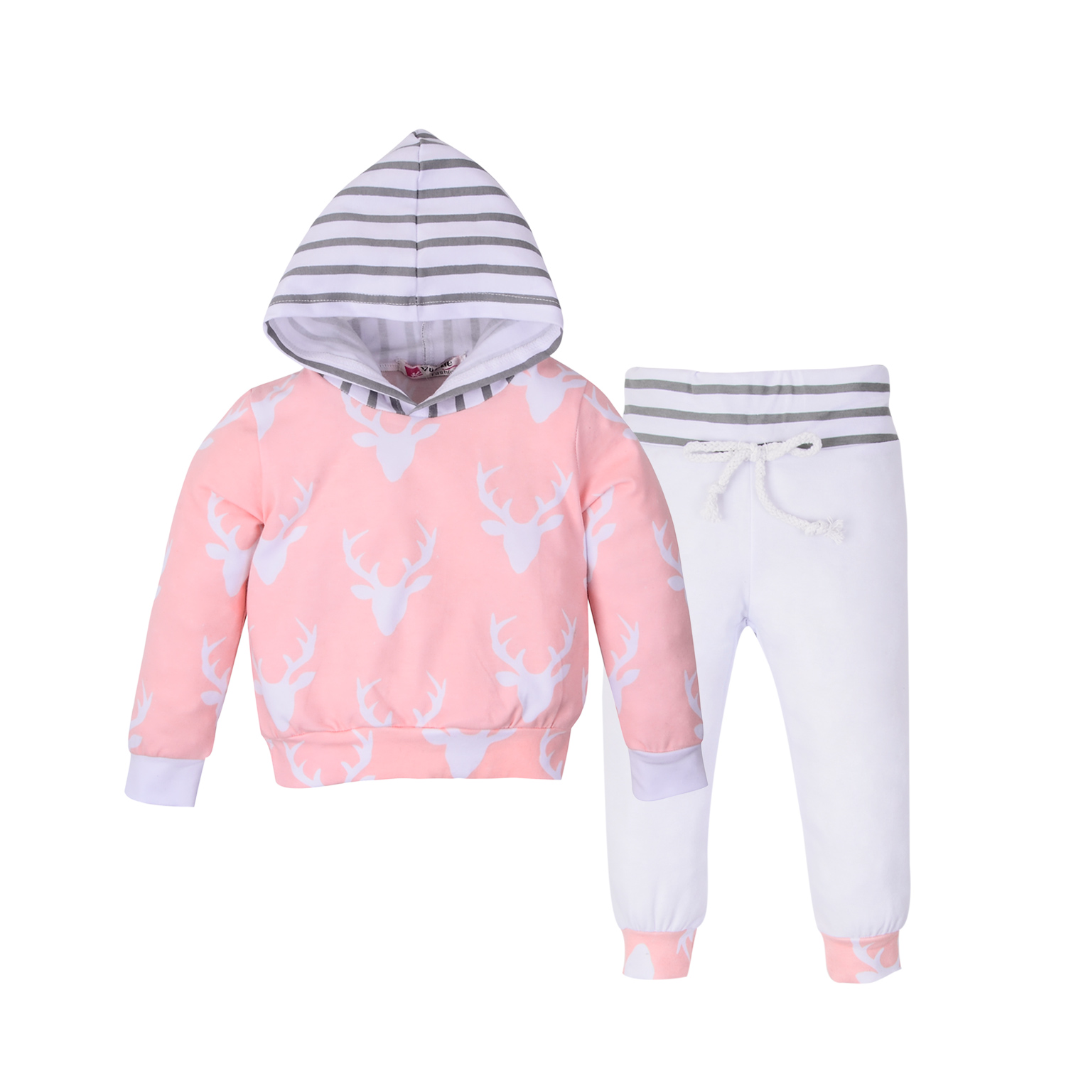 2-piece Cute Reindeer and Stripes Long-sleeve Hooded Shirt and Pants for Toddler Girl