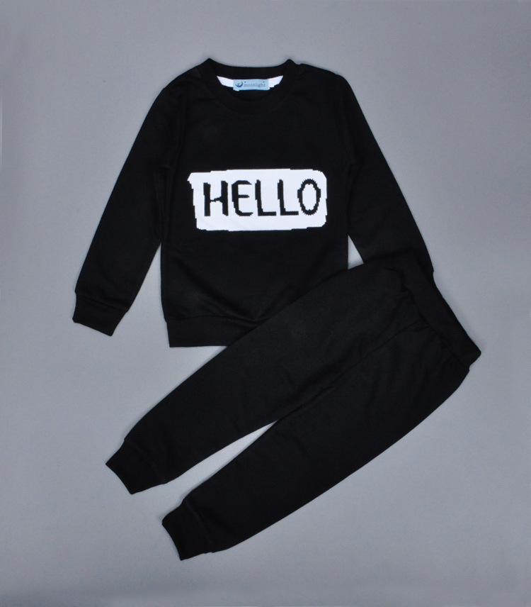 2-piece HELLO Solid Black Cotton Pullover and Pants for Toddler/Baby