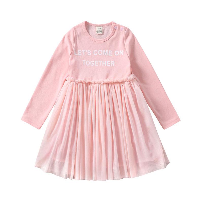 Toddler Girl's Solid Long Sleeves Letter Print Tulle Dress