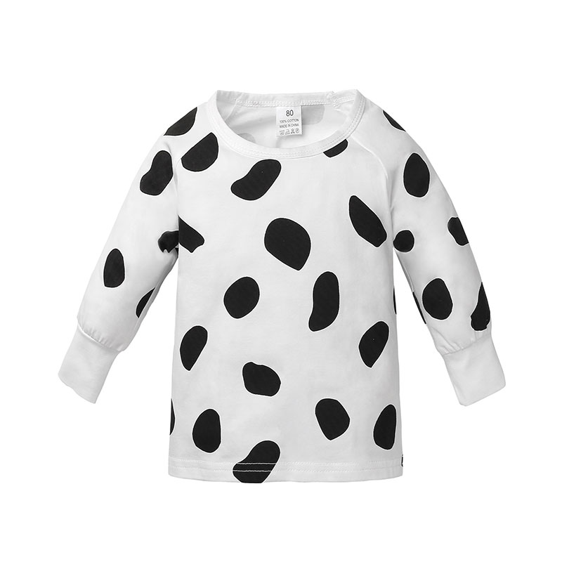 Baby's Comfy Dotted Long-sleeve Top in White