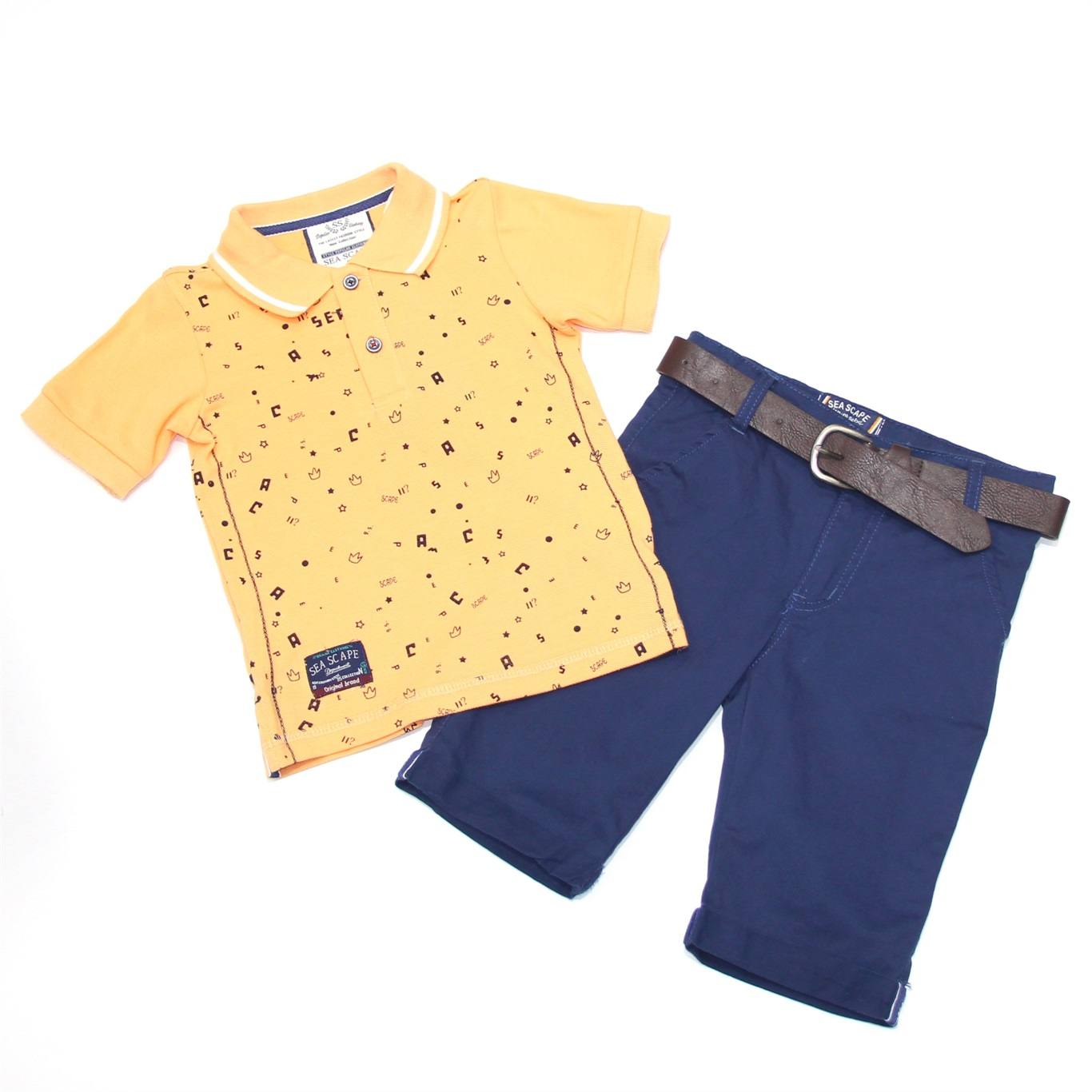 Fashion Graphic Print Short-sleeve Polo Shirt and Pants Set for Toddler Boy