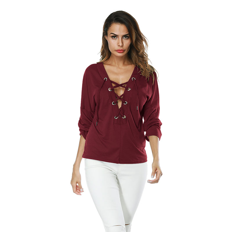 Women Sexy V-neck Lace-up Long Sleeve Tee