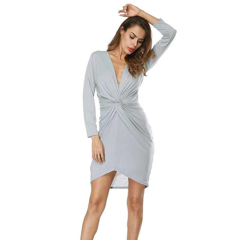 Women Sexy Deep V neck Long Sleeve Dress