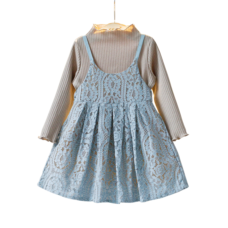 Trendy Ribbed Knit Tee and Hollow Out Lace Strap Dress Set for Girls