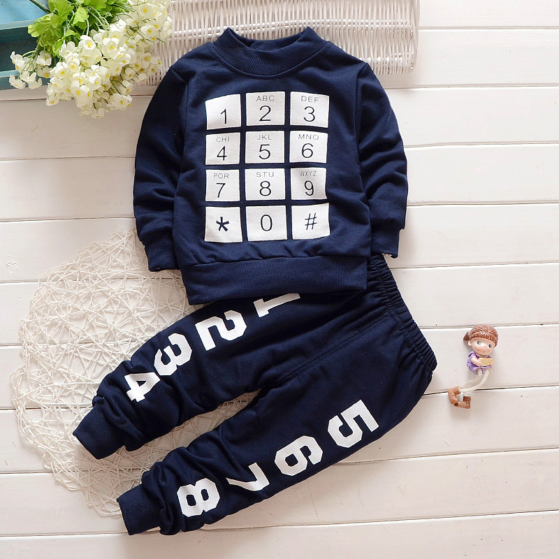 Cool Number Print Navy Pullover and Pants for Baby Boy