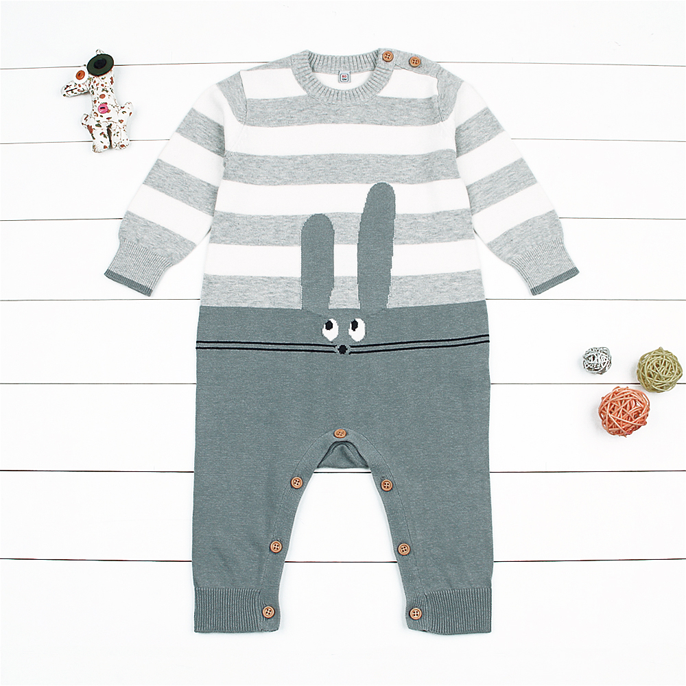 Cute Rabbit Stripes Long-sleeve Knit Jumpsuit for Baby
