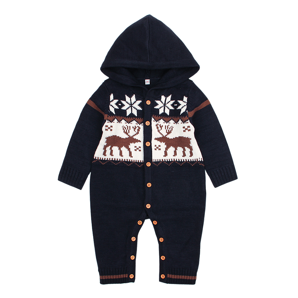 Classic Christmas Print Hooded Knit Jumpsuit for Baby