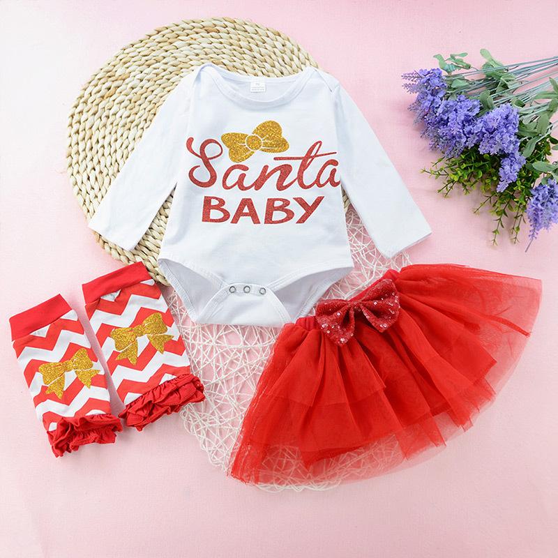 3-piece Glitter Bow Print Bodysuit Leggings and Tutu Skirt for Baby Girl