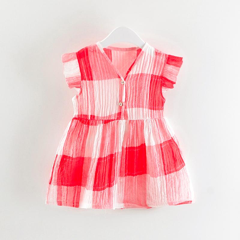 Baby Girl's Bright V Neck Ribbed Striped Dress