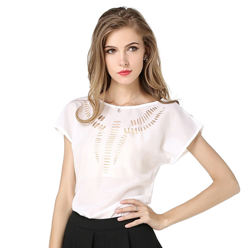 Pretty Solid Hollow Out Short-sleeve T-shirt for Women