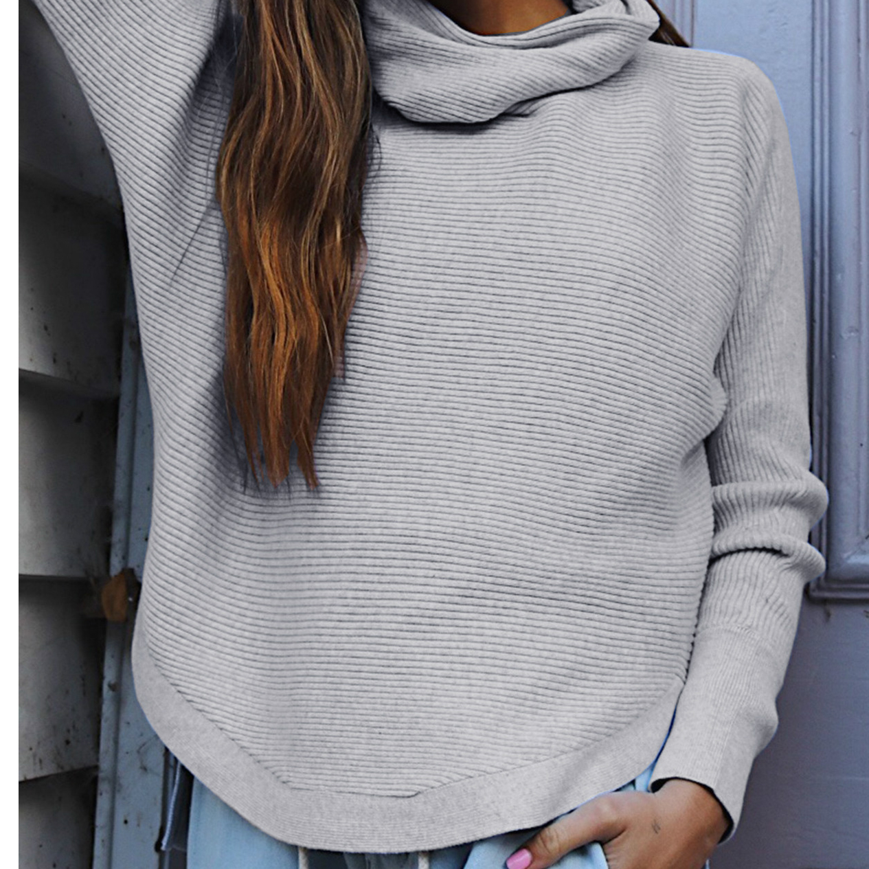 Trendy Solid Long-sleeve Turtleneck Sweater for Women