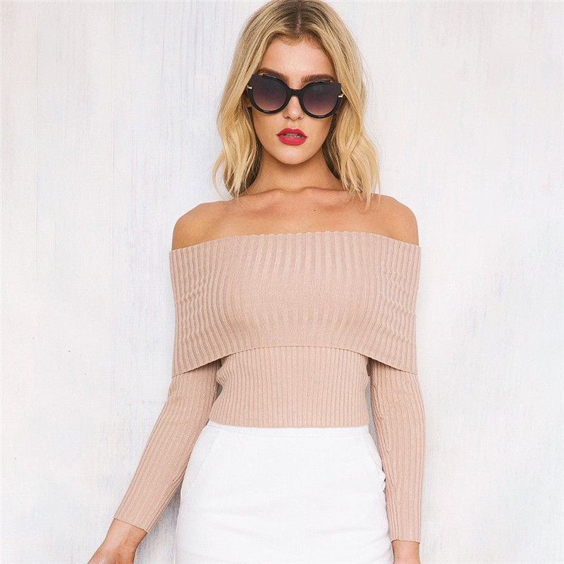 Trendy Solid Ribbed Off-shoulder Long-sleeve Knit Sweater for Women