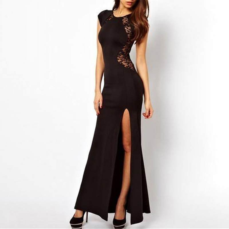 Pretty Solid Side Slit Lace Party Dress for Women