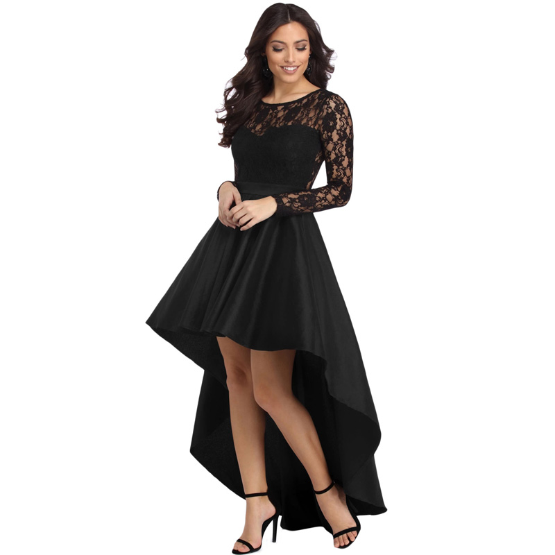 Chaming Solid Lace Seeves High Low A-line Party Dress for Women