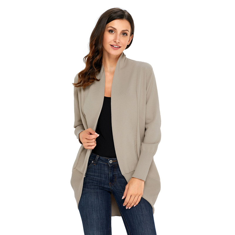 Trendy Solid Long-sleeve Knit Cardigan for Women