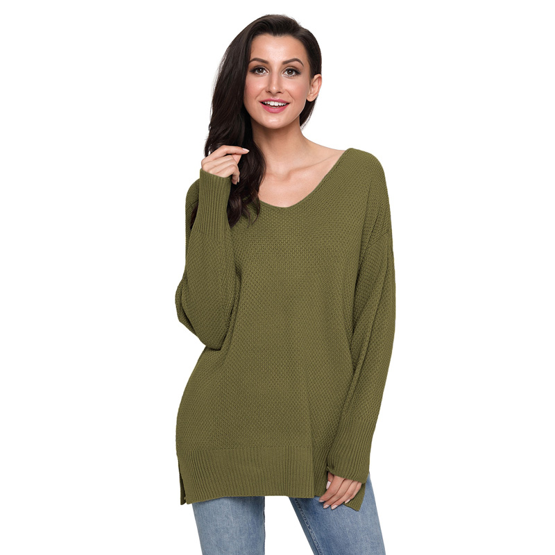Trendy V-neck Solid Long-sleeve Sweater for Women