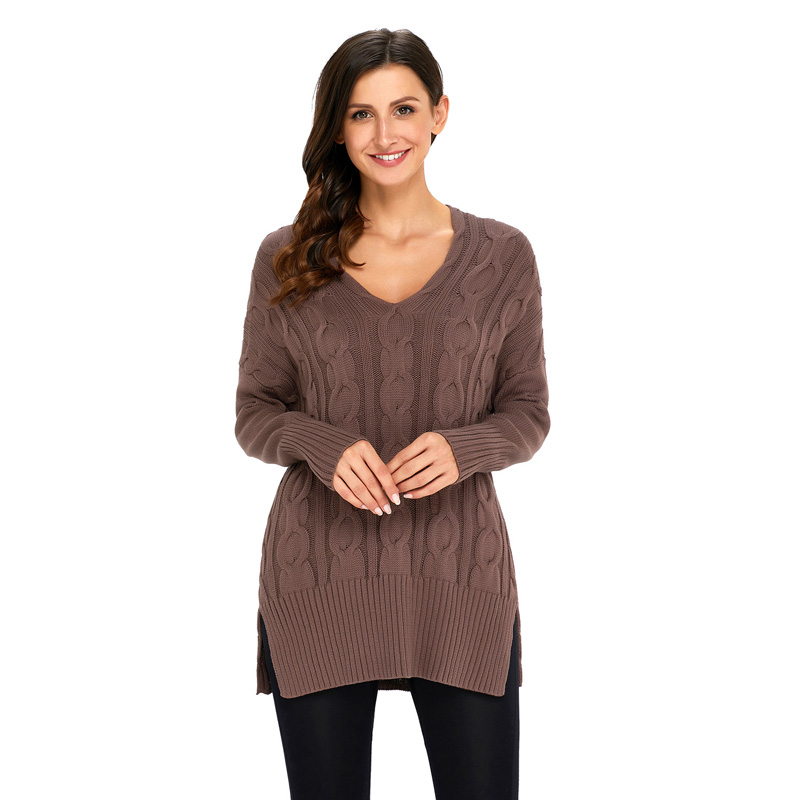 Casual Solid Long-sleeve V-neck Sweater for Women