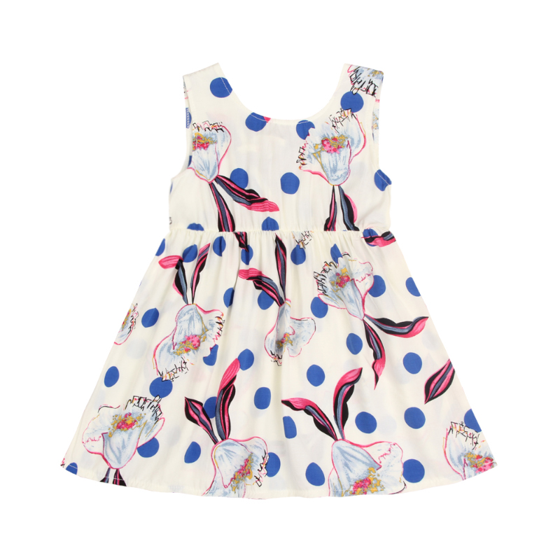 Toddler Girl's Floral Polka Dotted Sleeveless Dress