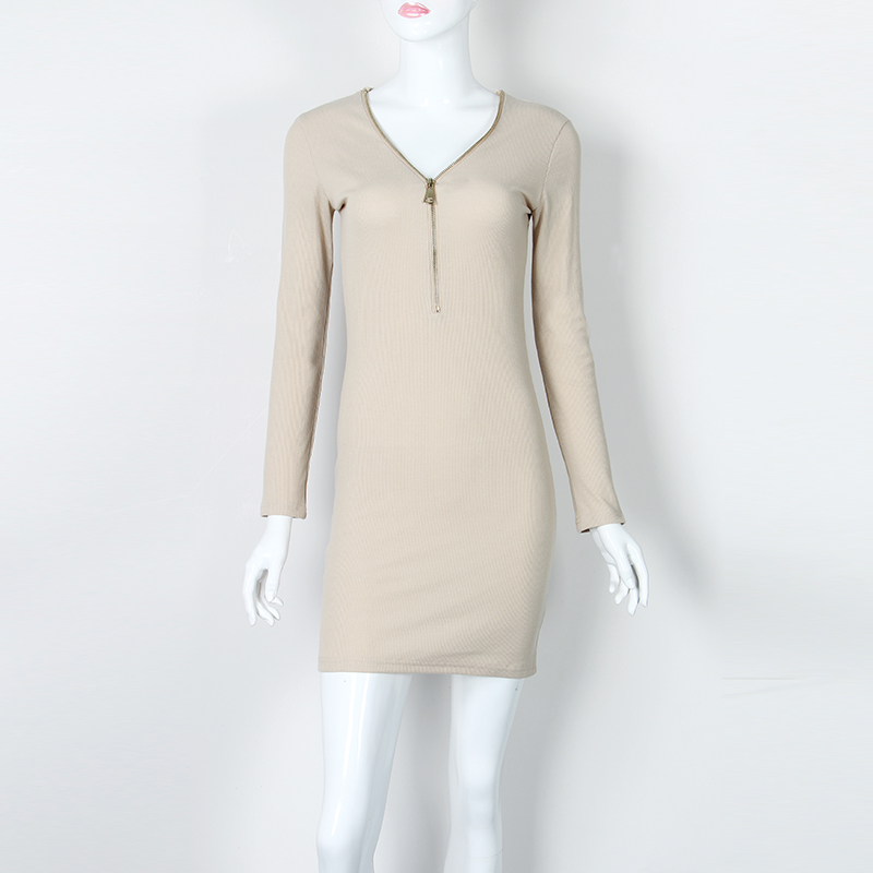 Trendy Solid Ribbed V-neck Long-sleeve Dress for Women