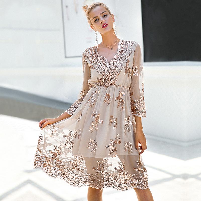 Elegant V-neck Sequined Long-sleeve Party Dress for Women