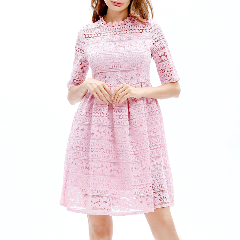 Women's Sweet Solid Half-sleeve Hollow Out Lace Dress