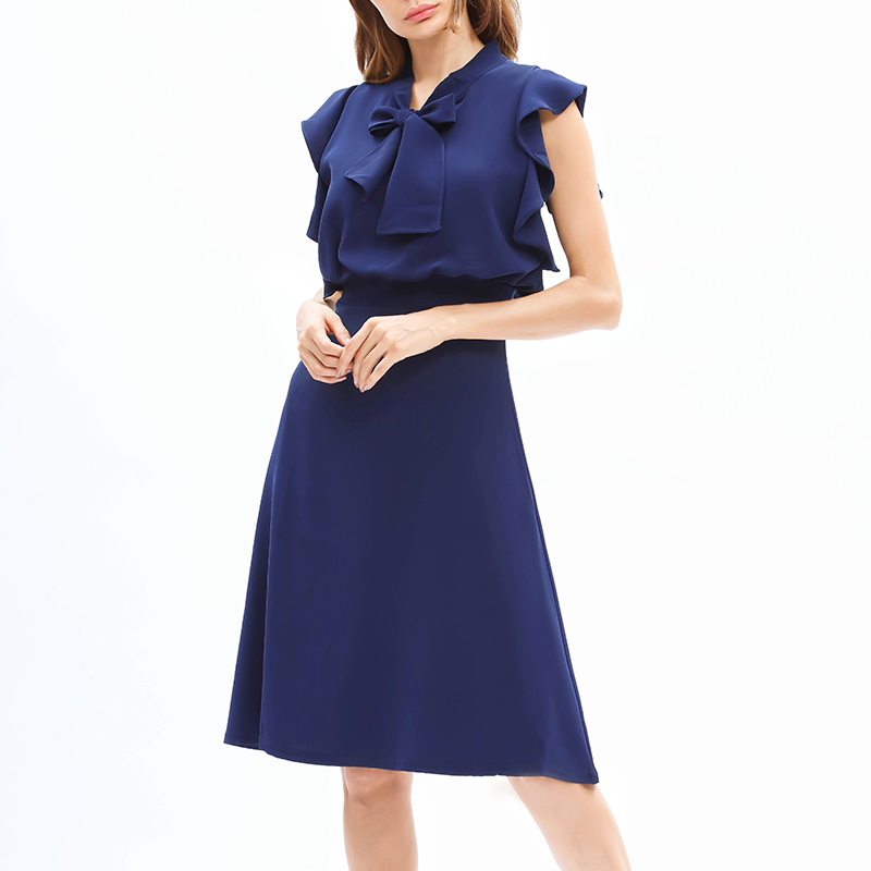 Women's Trendy Bowknot Flounce Solid Dress